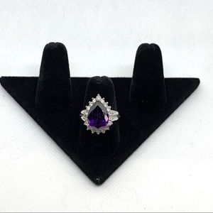 Purple pear gemstone rhinestone ring size 8